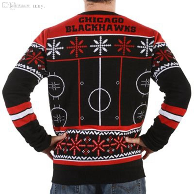 Wholesale-Chicago Blackhawks Thematic Crewneck Ugly Sweaters ice hockey Style Winter Pullovers Man Busy Block Ugly Sweater Free Shipping