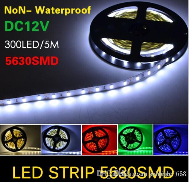 Super helles 5m 5630 SMD 60led / m LED Streifen-Licht wasserdichtes IP65 Flexiable 300LED kühles weißes reines weißes warmes Weiß 12V