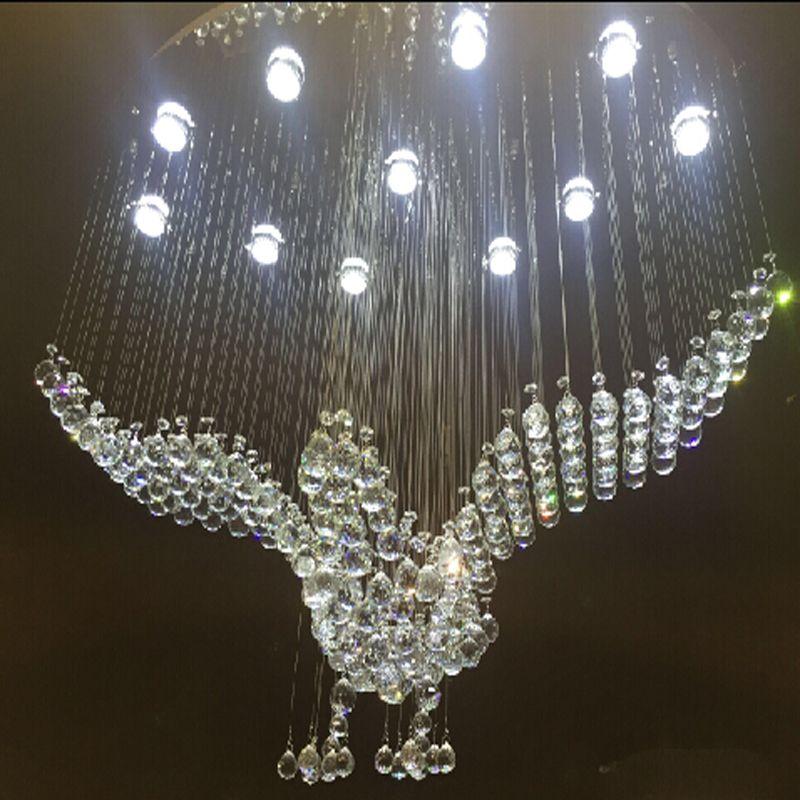 new concept 8dcaa 9b48a New Oval Design Large Crystal Chandeliers Modern Bird Chandelier Lighting  For Hotel Lobby Lustre Crystal Lamp Wagon Wheel Chandelier Wine Barrel ...