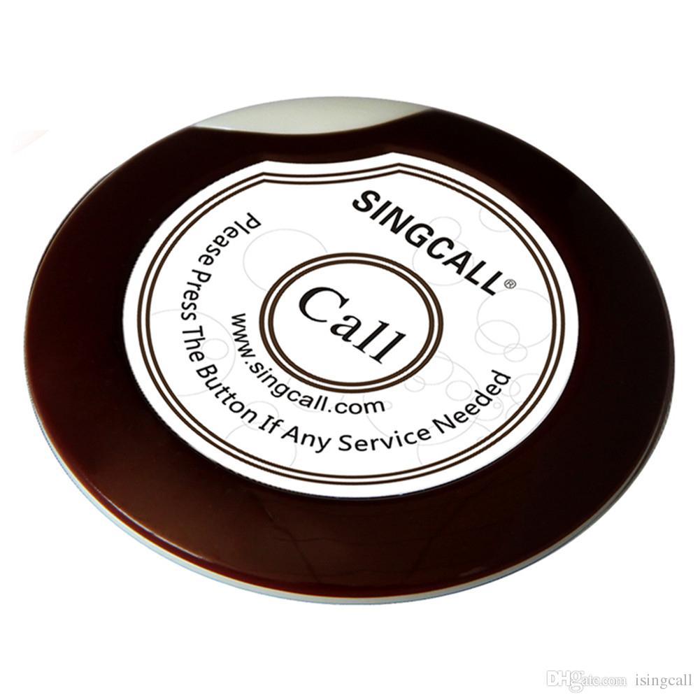 SINGCALL Wireless Paging-System Schlank Single Button Bell für Coffee Shop Teehaus