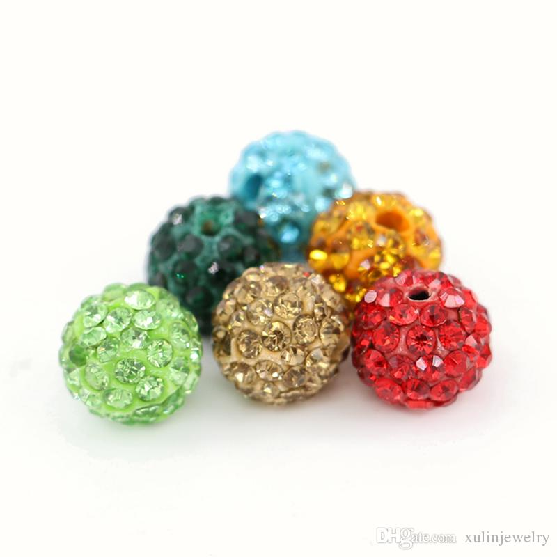 مزيج اللون Shamballa فضفاض الخرز الكرة نصف حفر 6 صفوف حجر الراين Ploymer كلاي ديسكو الكرة الخرز 100pcs / bag