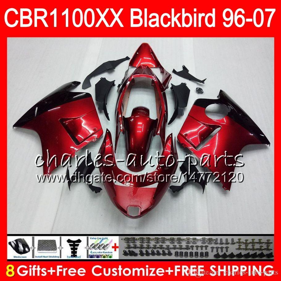 Кузов для HONDA Blackbird CBR1100 XX красное вино CBR1100XX 96 97 98 99 00 01 81HM11 CBR 1100 XX 1100XX 1996 1997 1998 1999 2000 2001 обтекатель