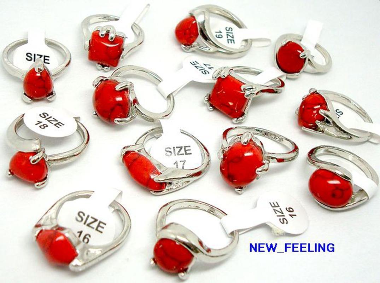 30pcs / lot 빈티지 모양 붉은 청록색 돌 반지 혼합 크기와 모양 여성 패션 쥬얼리 반지
