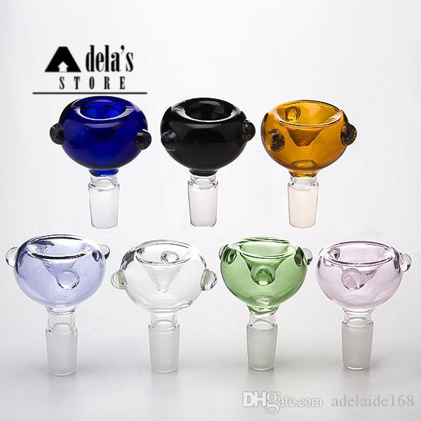 Bunte Glasschüssel 14mm 18mm Weibliche Männlich Joint Dick Pyrex Glas Bong Bubble Dome Stück Farbe Wasserleitung Öl Rig Bubbler Rauch 491