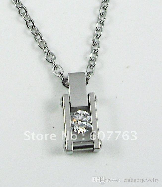 Нержавеющая сталь 316L дамы прямоугольной формы большой прозрачный кристалл CZ камень подвески цепи ожерелья