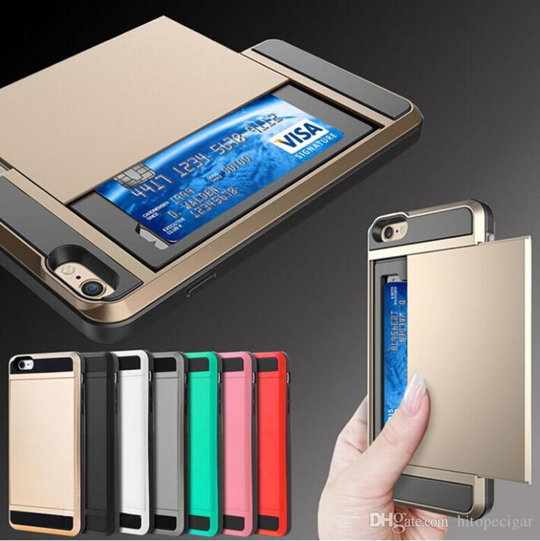 Dual Layer Armor Phone Case with Slide Card Case for Iphone 6 7 8plus x Xr Xs Max 11 11 Pro 12 12 mini Samsun Note 20