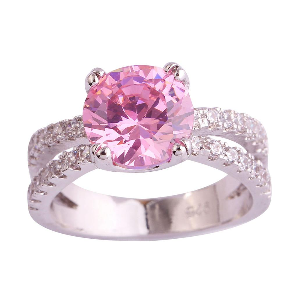Fangle 925 Jewelry Pink Topaz Gems Women Wedding Silver Ring Size 6 7 8 9 10 11 Free Shipping Wholesale