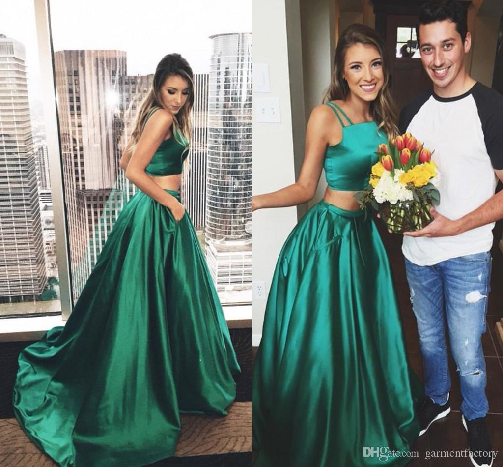 Gorgeous Two Piece Prom Dresses Double Spaghetti Straps Crop Top A ...