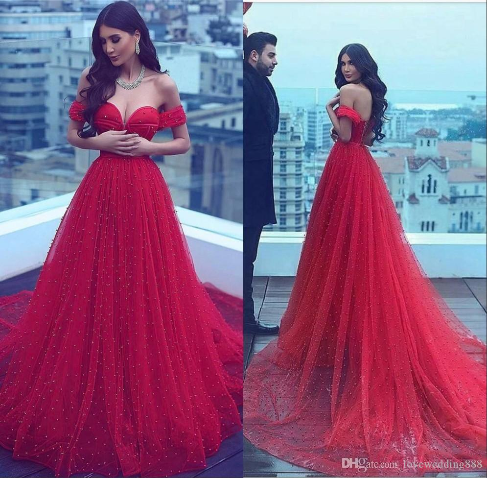 Glamorous A Line Red Wedding Dresses 2018 Dubai Arabic Beads Tulle Sweep Train Bridal Party Gown For Women Engaged Wear