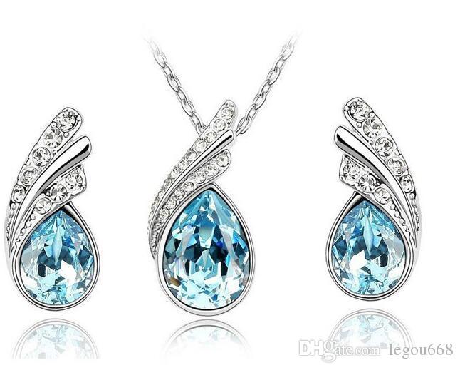 Set de joyas de cristal austriaco de 10 piezas en plata de ley 925 Conjunto de joyas de P con collar de diamantes y un par de pendientes de cristal de Swarovski