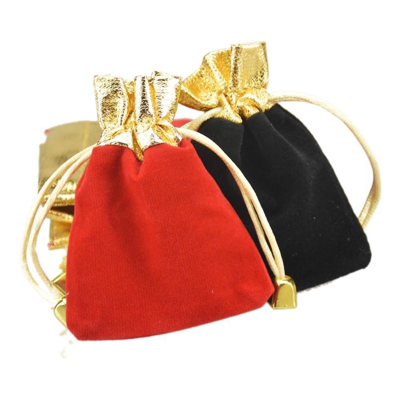الحقائب والمجوهرات المخملية الرباط الحقائب مع الذهب الخرزة يصلح للقلادة سوار القرط عيد الميلاد هدية الزفاف الحلوى حزمة 7x9cm 2.7x3.5 ''