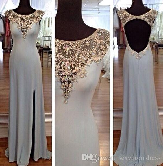 Kristal Boncuklu Bir Çizgi Gelinlik 2017 Cap Sleeve Yan Bölünmüş Kat Uzunluk Abiye giyim Backless Örgün Parti Elbiseler