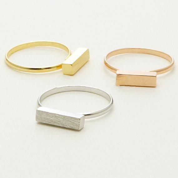 10 / PC O tipo de anéis de barra 18 K banhado a Ouro anéis de jóias cubóides anéis de vedação geométrica atacado