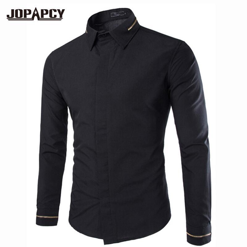 Оптово-Мода Весна сплошные черные рубашки с длинным рукавом Дизайнерские деловые хлопковые мужские рубашки Slim Fit Мужская одежда Social MXB0222