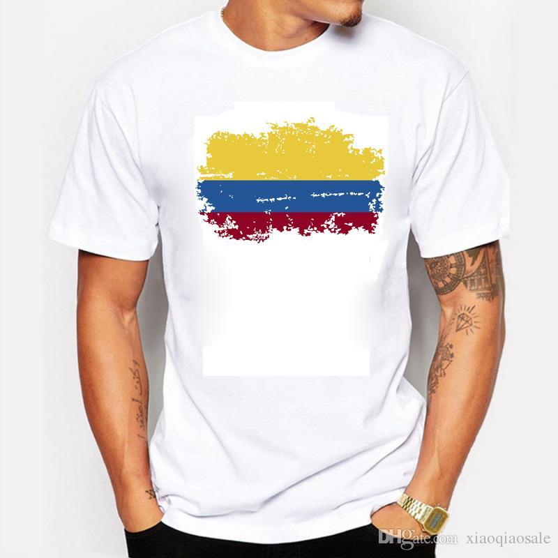 Estate Colombia Nostalgia Bandiera Uomo T-shirt Girocollo T-Shirt Fans Colombia Bandiera Style Sport Fitness Palestra T-shirt per uomo