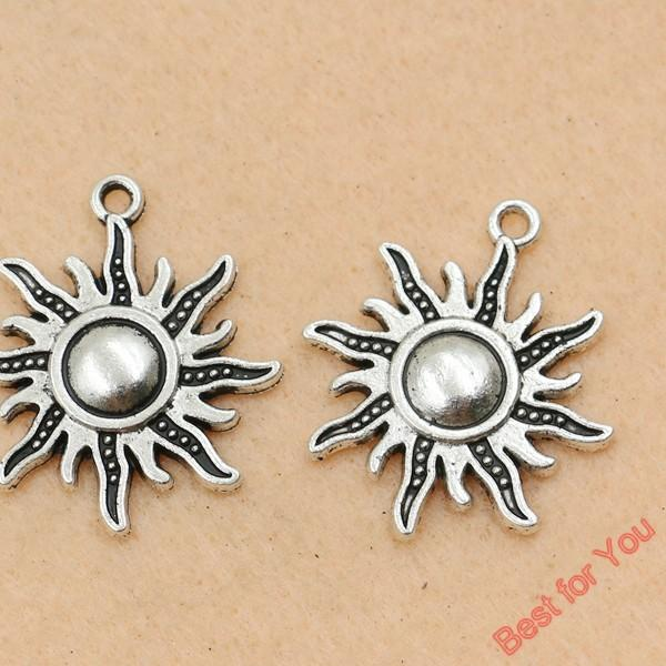 Sun Charms Anhänger Schmuck Diy Schmuckzubehör Tibetan Silver Tone 28x25mm 60pcs / LOTS Schmuckherstellung