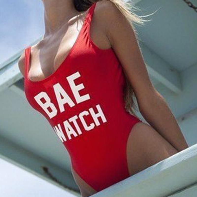 2016 Sexy Womens Red BAE WATCH Letter Print Backless Bathing Suit Brazilian Monokini Swimsuits Swimwear One Piece Bodysuit