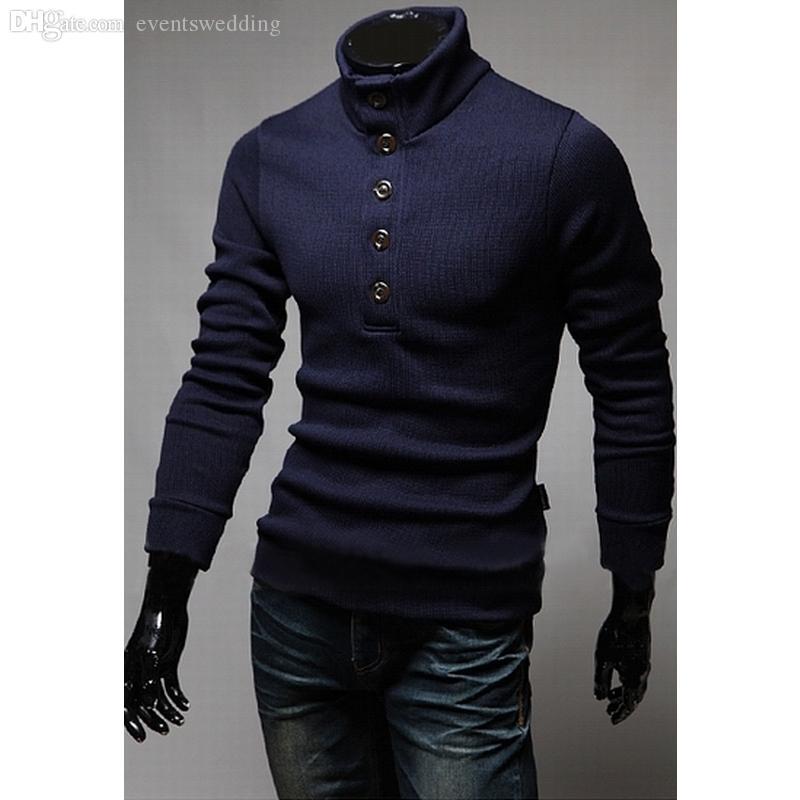 Оптовая торговля-новая кнопка декоративные воспитать в себе мораль свитер, зимний модный человек водолазка свитер