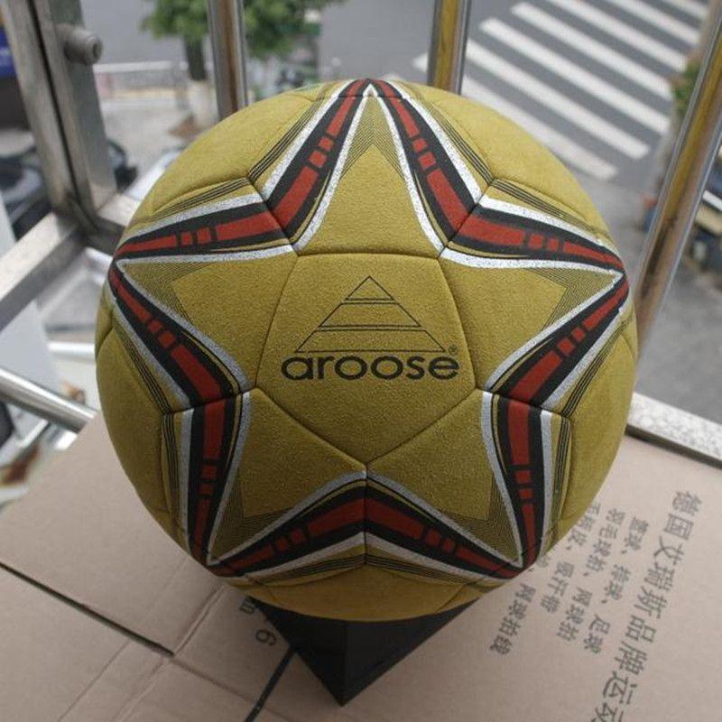 Pallone da calcio in pelle di alta qualità, pallone da calcio per esterno, super-fibra, misura 5, per terreni duri