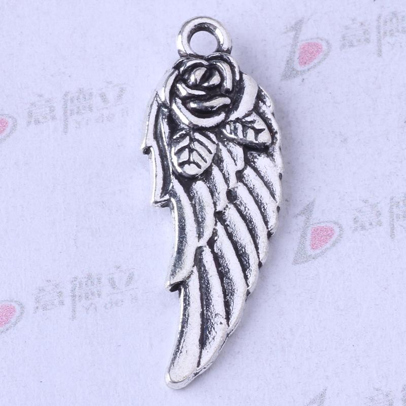 Plata antigua / bronce flores alas colgante diy colgante de la joyería en forma de collar o pulseras encantos 200 unids / lote 33z