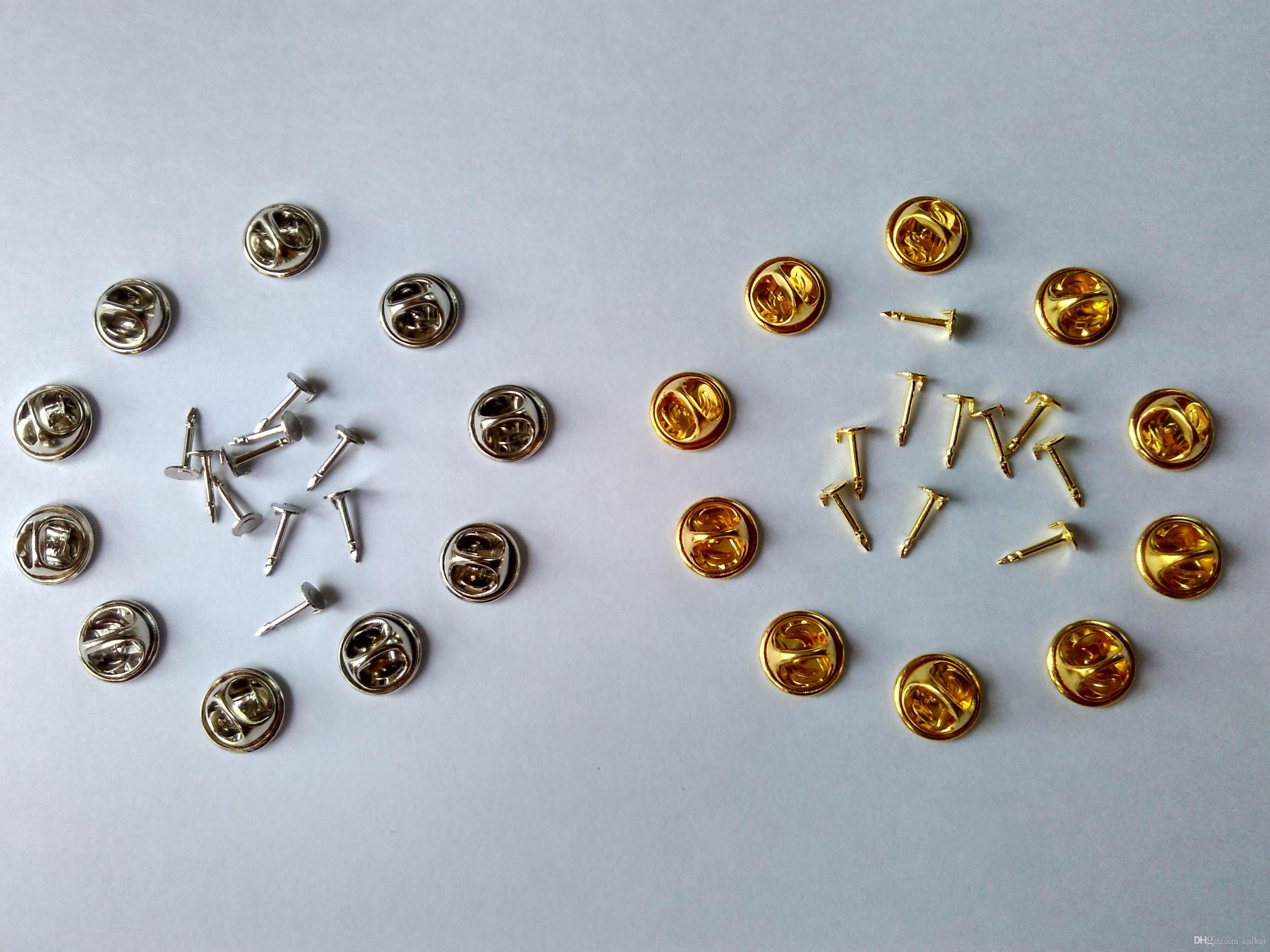 10mm Post Nails Post Silver Silver Laiton Cravate Tacks Tacs Papillon Pin de Papillon Arrêtit Embrayage de fermoir pour les vêtements Constatations de bijoux Broches Scatter