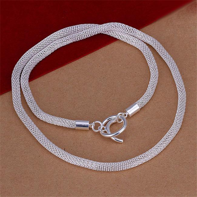 Free shipping Net Necklace sterling silver plate necklace STSN087, fashion 925 silver Chains necklace factory direct sale christmas gift