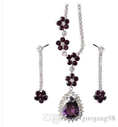edle lila Diamantkristall Waterdrop gesetzte Halskettenohrringe dfdg