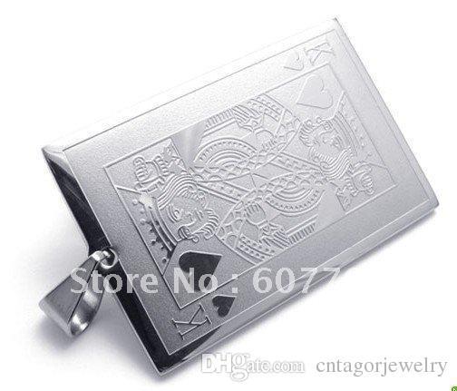 Нержавеющая сталь Король сердца покер карты кулон ожерелье BYS005 / свободный шар бар бисер цепи