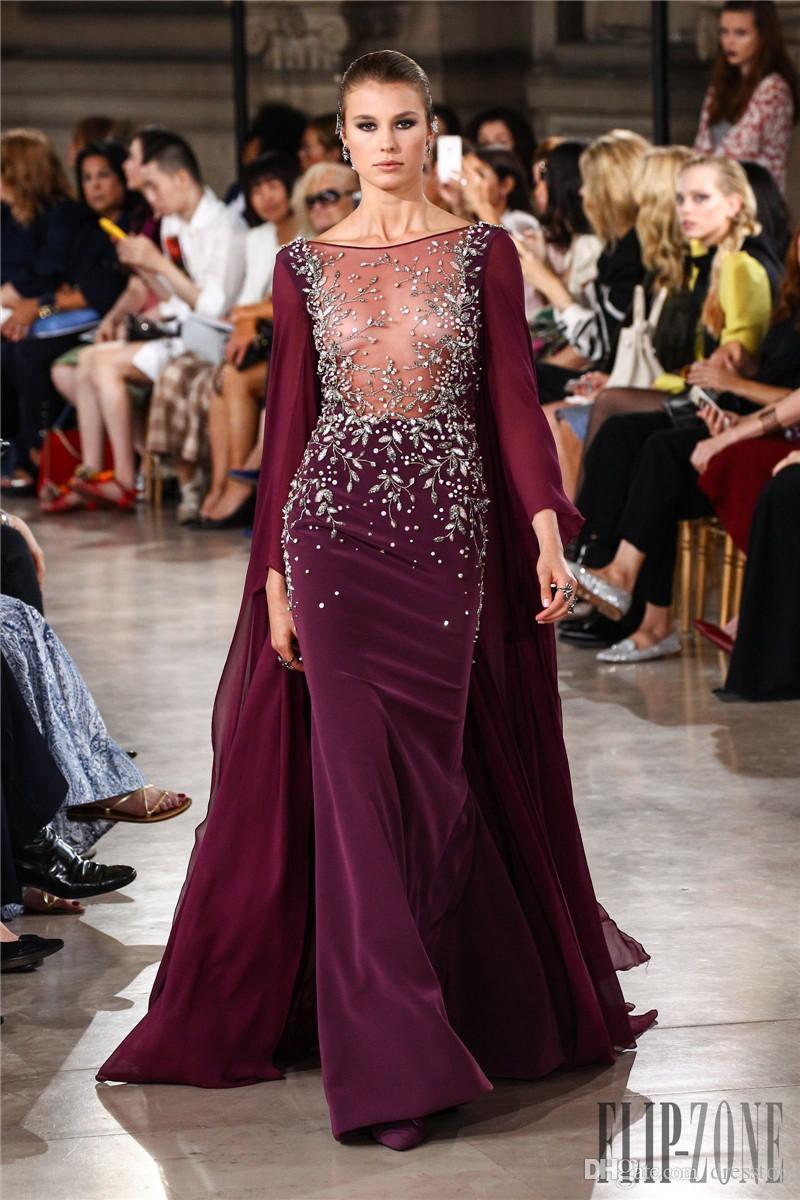 Elegante Georges Hobeika Vestidos de Desgaste da Noite Strass Sheer Bateau Pescoço Frisada Sereia Mangas Compridas Vestidos de Noite Lantejoulas Vestido Formal