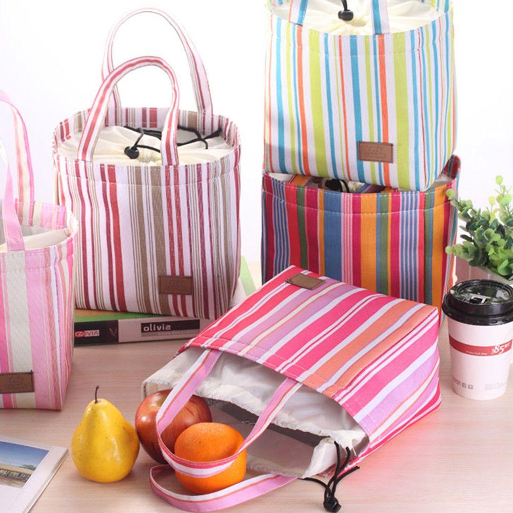 5 strisce verticali calde del PC con gli studenti che tengono il sacchetto del pranzo della scatola del pasto impermeabile sei colori disponibili