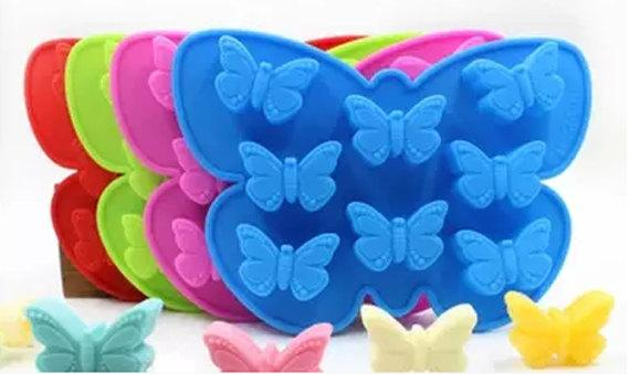 Hot 8 hole butterfly ice Cake Mold Flexible Silicone Soap Mold For Handmade Soap Candle Candy bakeware baking moulds kitchen tools ice molds