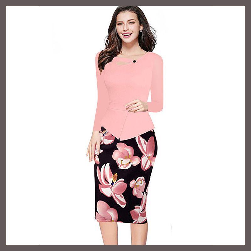 Compre Ropa Más Nueva De Las Mujeres Pink Print Floral Patchwork ...