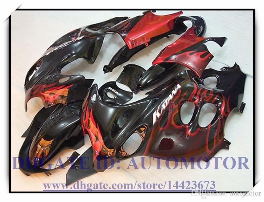 ABS carenatura kit 100% per Suzuki GSX600F / 750F 2003-2005 GSX 600F GSX 750F 2003-2005 2004 GSX600F / 750F 03 04 05 # DC885 NERO ROSSO FIAMMA