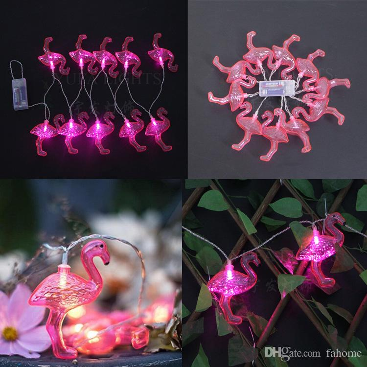 2016 Nuevo Llega Red Flamingo 10LED Bombillas String Light Batería LED Holiday Holiday Home Party Decor