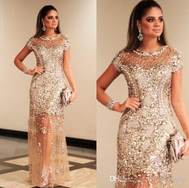 Luxe Sparkly Gold Robes de bal prominée Seuls Sexy Crew Coffret Suresves Voir à la Champagne Soirée Formelle Celebrity Dress Dress Dubai Gala