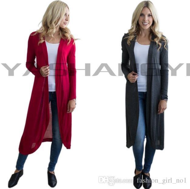 Оптовая продажа-осень женская повседневная с длинным рукавом кардиган вязать трикотаж шифон платье пальто длинные Макси обертывания пиджаки пальто