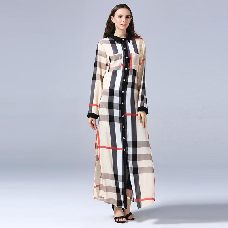 Hot Selling Plus Size 7XL Polyester Plaid Print Dress Stand Collar Long  Sleeve Ankle Length Ladies Fashion Shirt Dress Dress Shopping Womens ...