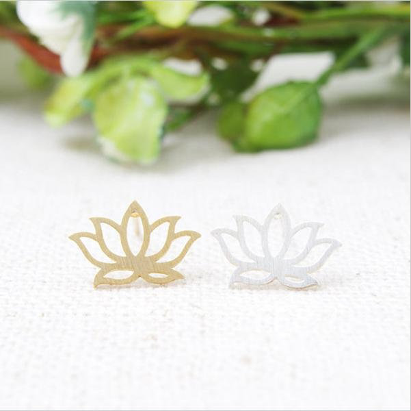 A chegada de 2016 nova moda Lotus brincos columella cor ouro / prata / ouro rosa ED021 10 pares / entrega gratuitamente