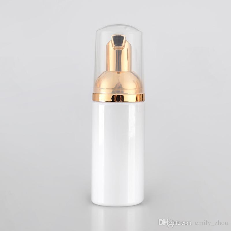 Sıcak 20 adet / grup 60 ML beyaz köpük şişe köpüren altın pompa sabunluk, plastik lottion şişe