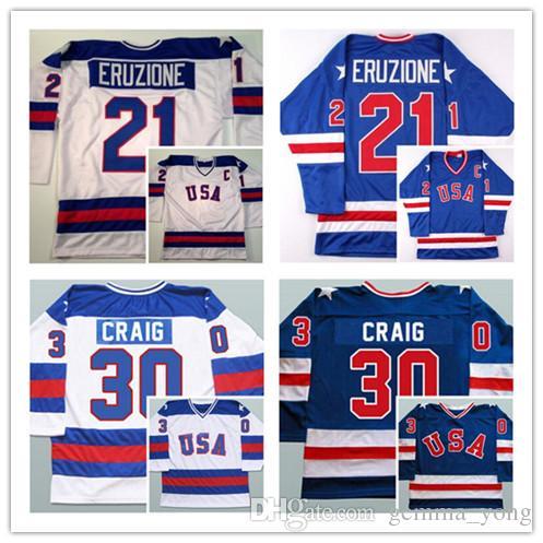 17 Jack Ocallahan 21 Mike Eruzione 30 Jim Craig 1980 USA Magliette da hockey Olimpiche, cucite 1980 Miracle On Hockey su ghiaccio Running Jerseys