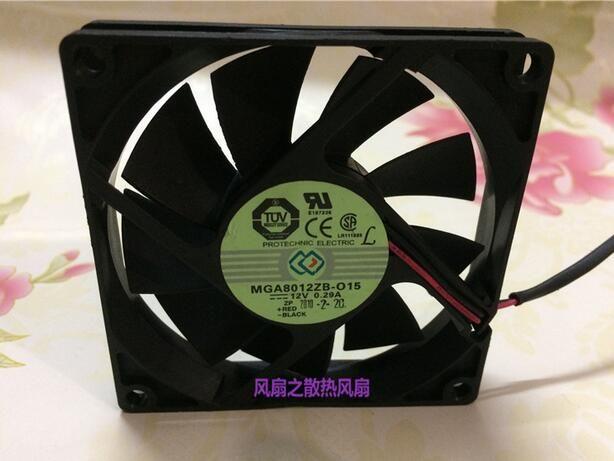 Original MGAIC 8015 0.29A MGA8012ZB-O15 80 * 80 * 15mm 12 V 2 fio duplo bola ventilador de refrigeração