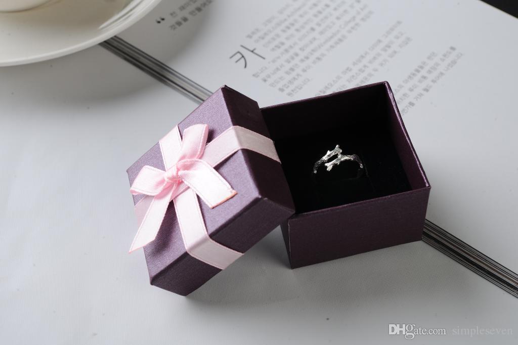 [심플 세븐] 솔리드 퍼플 팔찌 상자 / 축제 목걸이 케이스 / 펜던트 디스플레이 / 사랑스러운 귀걸이 상자 / Jewlery 포장 핑크 Bowknot (소)