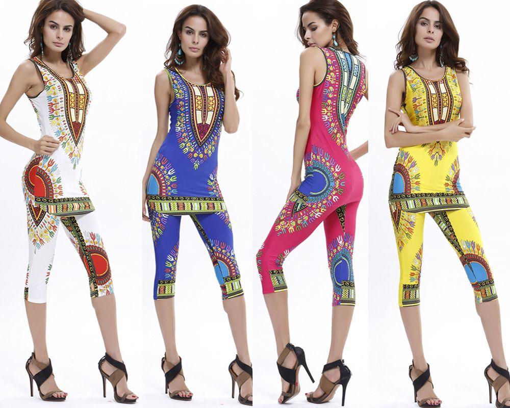 Hot Sale Summer Sexy Bodysuit Fashion Women Geometric Ethnic African Totem Printing Comfortable Elastic Vest + Pants Suit 6 Color