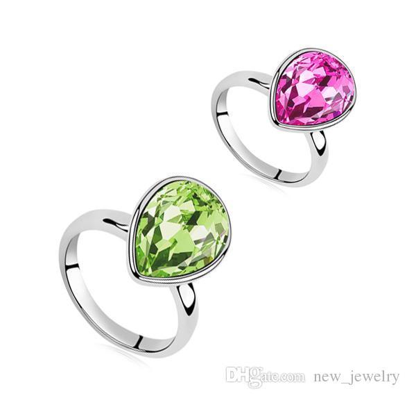 Hoge Quanlity Austrian Crystal Heart Ruby Ring Cubic Zirconia Verzilverd Vrouwen Mode-sieraden Ringen voor Vrouwen Huwelijk