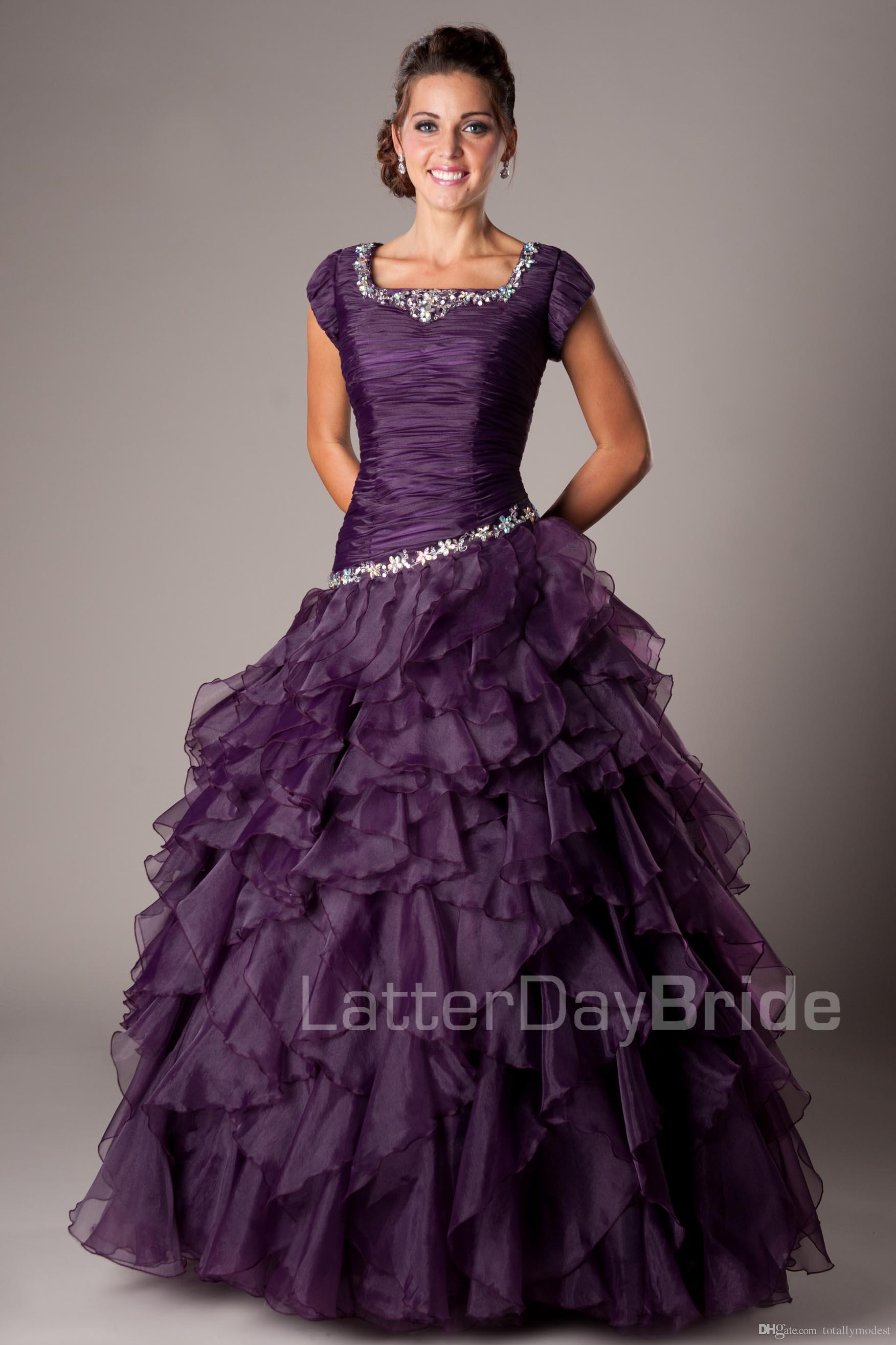 Grape Purple Ball Gown Long Modest Prom Dresses With Cap Sleeves Beaded Ruffles High School Girls Formal Prom Party Dresses New