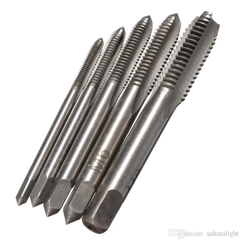 5pc HSS M3 M4 M5 M6 M8 Straight Fluted Screw Tap Metric Hand Tap Set Kit Tool US
