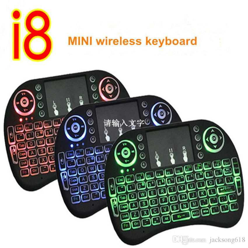 Hot Backlit i8 Mini Wireless Keyboard with Russian English Hebrew Spanish Air Mouse For Android TV BOX PC Laptop cheap keyboards 10pcs/lot