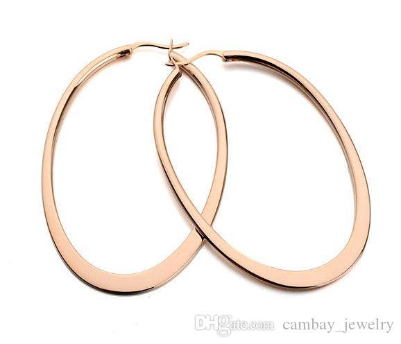 NUEVO Fashion Classica Design 18K Rose Gold / Imitación chapado en rodio grandes pendientes de aro ovalados Women Brand Jewellery
