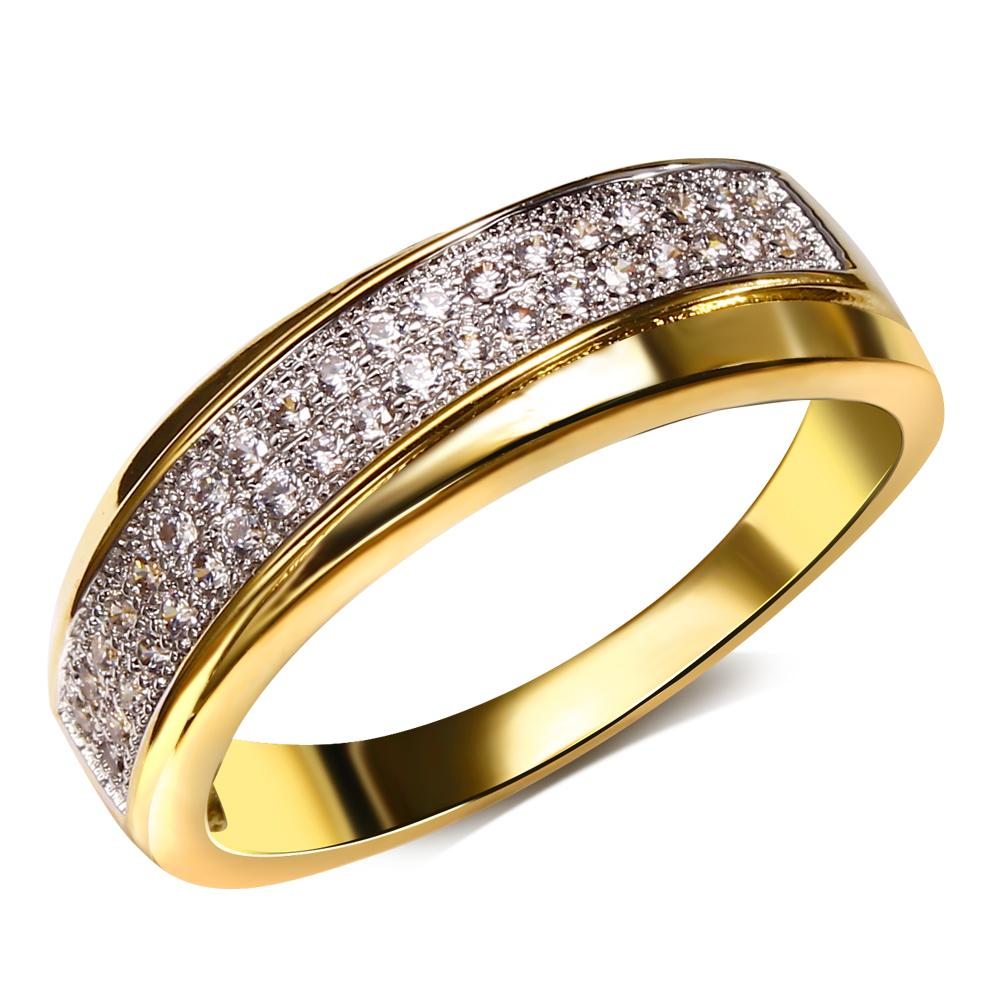 Wedding Bands For Women Real Gold and Platnum Plated with Cubic zirconia Unisex Ring New design Fashion Jewelry Free shipping