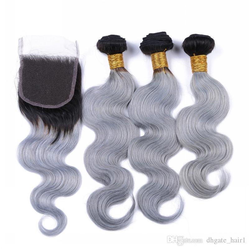 Brésilien argent gris Ombre cheveux Bundles avec fermeture à lacets 4pcs Lot foncé racine 1B / gris Ombre 4x4 fermeture à lacets avant avec tissages
